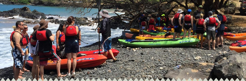 Groups of people ready to begin Kayak Tour