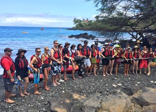 kayaking group briefing before paddling out