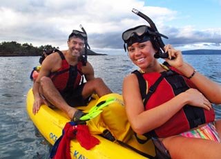 kayakers having a fun time in Maui